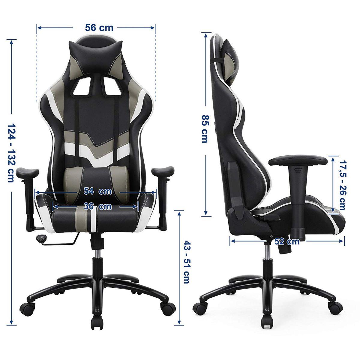 Verstelbare Bureaustoel Zwart.Gamestoel Met Kantelfunctie En Verstelbare Armleuningen Zwart Grijs